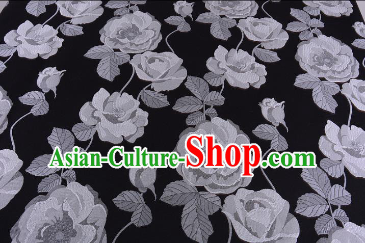 Chinese Traditional Costume Royal Palace White Flowers Pattern Fabric, Chinese Ancient Clothing Drapery Hanfu Cheongsam Material