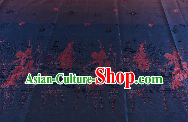 Chinese Traditional Costume Royal Palace Printing Navy Brocade Fabric, Chinese Ancient Clothing Drapery Hanfu Cheongsam Material