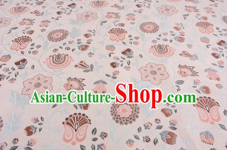 Chinese Traditional Costume Royal Palace Pattern Apricot Brocade Fabric, Chinese Ancient Clothing Drapery Hanfu Cheongsam Material