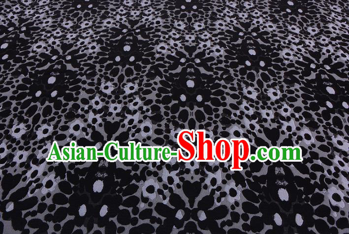 Chinese Traditional Costume Royal Palace Black Satin Brocade Fabric, Chinese Ancient Clothing Drapery Hanfu Cheongsam Material