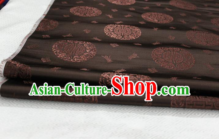 Chinese Traditional Royal Palace Longevity Pattern Mongolian Robe Coffee Satin Brocade Fabric, Chinese Ancient Costume Drapery Hanfu Tang Suit Material