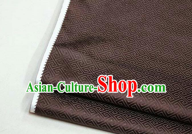 Chinese Traditional Royal Palace Back Pattern Mongolian Robe Deep Brown Satin Brocade Fabric, Chinese Ancient Costume Drapery Hanfu Tang Suit Material