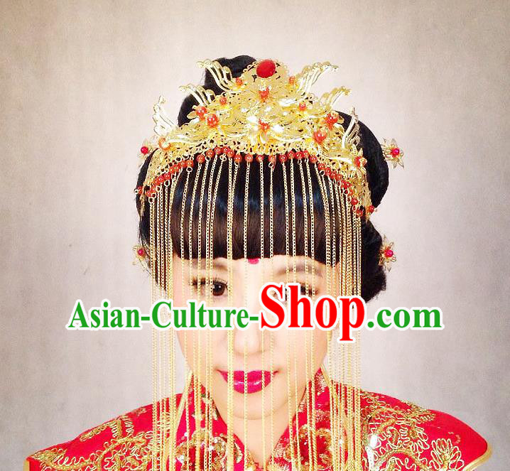 Chinese Wedding Jewelry Accessories Traditional Xiuhe Suits Wedding Bride Headwear Phoenix Coronet Wedding Tiara Ancient Chinese Tassel Harpins for Women