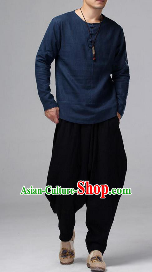Top Chinese National Tang Suits Flax Frock Costume, Martial Arts Kung Fu Long Sleeve Dark Blue T-shirt, Kung fu Plate Buttons Unlined Upper Garment, Chinese Taichi Shirts Wushu Clothing for Men