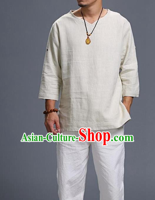 Traditional Top Chinese National Tang Suits Linen Frock Costume, Martial Arts Kung Fu Three Quarter Sleeve Beige T-Shirt, Kung fu Unlined Upper Garment, Chinese Taichi Shirts Wushu Clothing for Men