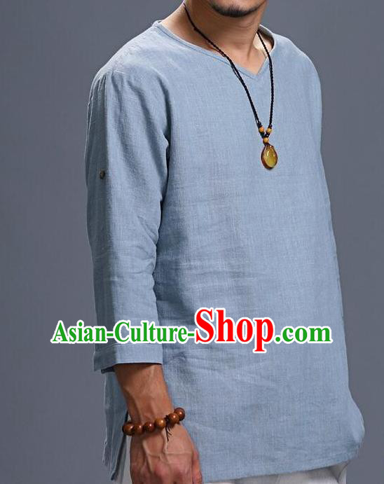 Traditional Top Chinese National Tang Suits Linen Frock Costume, Martial Arts Kung Fu Three Quarter Sleeve Light Blue T-Shirt, Kung fu Unlined Upper Garment, Chinese Taichi Shirts Wushu Clothing for Men