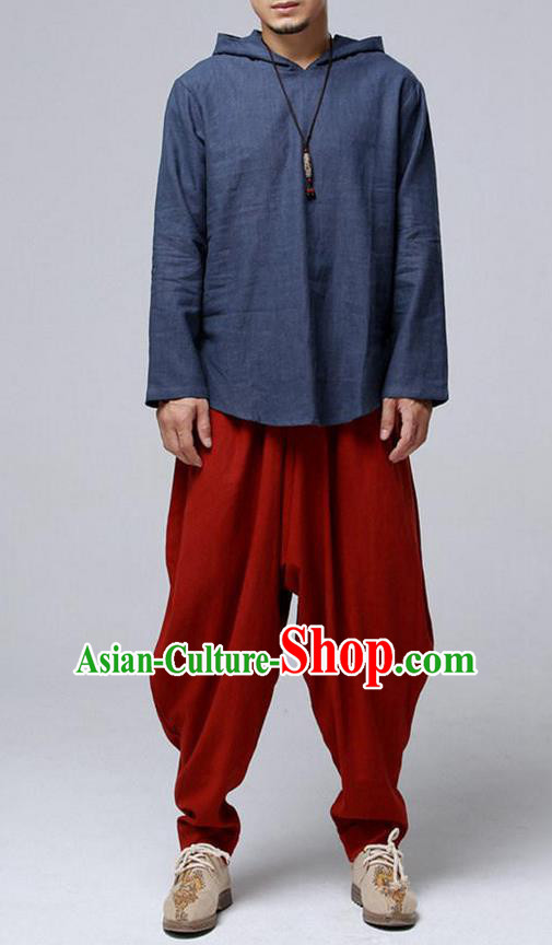 Traditional Top Chinese National Tang Suits Linen Frock Costume, Martial Arts Kung Fu Long Sleeve Grey-Blue Hooded T-Shirt, Kung fu Upper Outer Garment, Chinese Taichi Shirts Wushu Clothing for Men