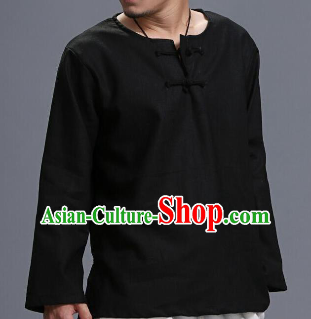 Traditional Top Chinese National Tang Suits Linen Frock Costume, Martial Arts Kung Fu Long Sleeve Black T-Shirt, Kung fu Plate Buttons Upper Outer Garment, Chinese Taichi Shirts Wushu Clothing for Men