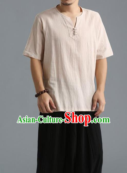 Traditional Top Chinese National Tang Suits Linen Frock Costume, Martial Arts Kung Fu Short Sleeve Beige T-Shirt, Kung fu Unlined Upper Garment, Chinese Taichi Shirts Wushu Clothing for Men