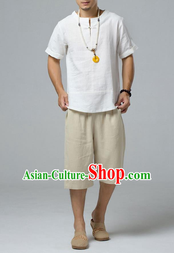 Traditional Top Chinese National Tang Suits Linen Frock Costume, Martial Arts Kung Fu Short Sleeve White T-Shirt, Kung fu Copper Buckle Upper Outer Garment, Chinese Taichi Shirts Wushu Clothing for Men