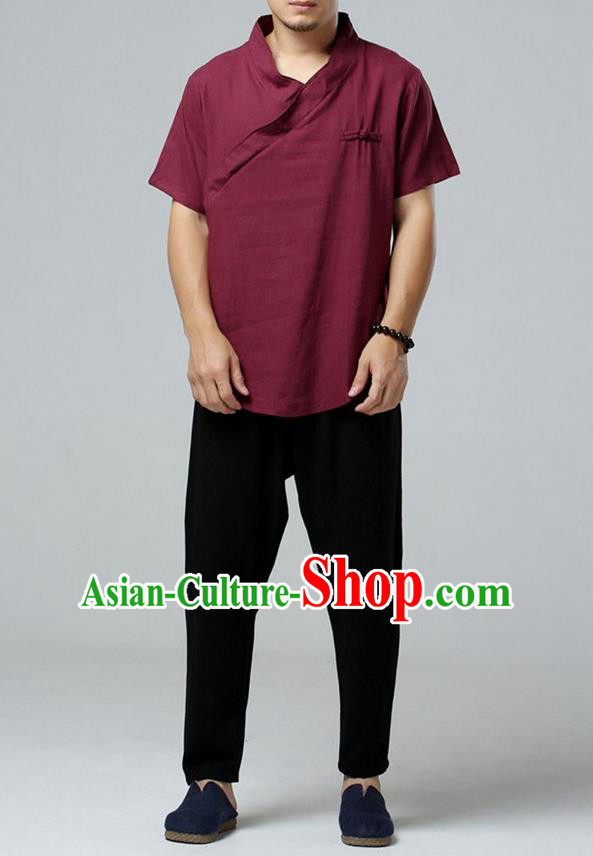 Traditional Top Chinese National Tang Suits Linen Frock Costume, Martial Arts Kung Fu Short Sleeve Dark Red T-Shirt, Kung fu Upper Outer Garment, Chinese Taichi Shirts Wushu Clothing for Men