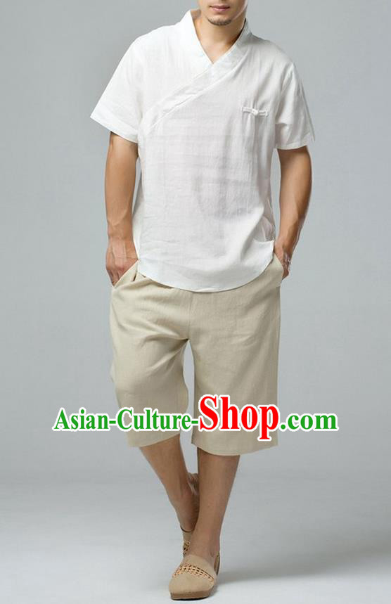 Traditional Top Chinese National Tang Suits Linen Frock Costume, Martial Arts Kung Fu Short Sleeve White T-Shirt, Kung fu Upper Outer Garment, Chinese Taichi Shirts Wushu Clothing for Men