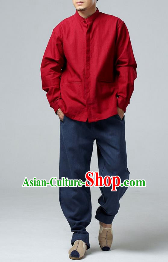 Traditional Top Chinese National Tang Suits Linen Frock Costume, Martial Arts Kung Fu Red Jacket Shirt, Kung fu Thin Upper Outer Garment Blouse, Chinese Taichi Thin Coats Wushu Clothing for Men
