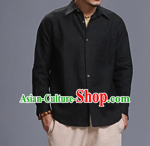 Traditional Top Chinese National Tang Suits Linen Costume, Martial Arts Kung Fu Chinese Black Shirt, Sun Yat Sen Suit Upper Outer Garment Blouse, Chinese Taichi Shirts Wushu Clothing for Men