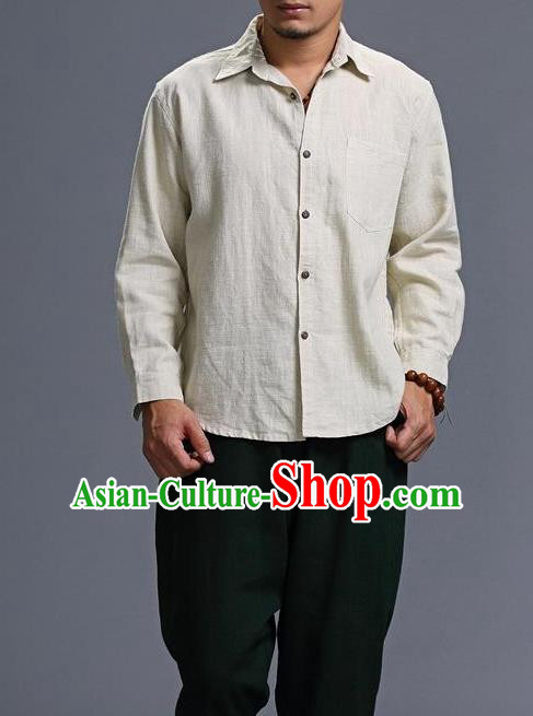 Traditional Top Chinese National Tang Suits Linen Costume, Martial Arts Kung Fu Chinese White Shirt, Sun Yat Sen Suit Upper Outer Garment Blouse, Chinese Taichi Shirts Wushu Clothing for Men