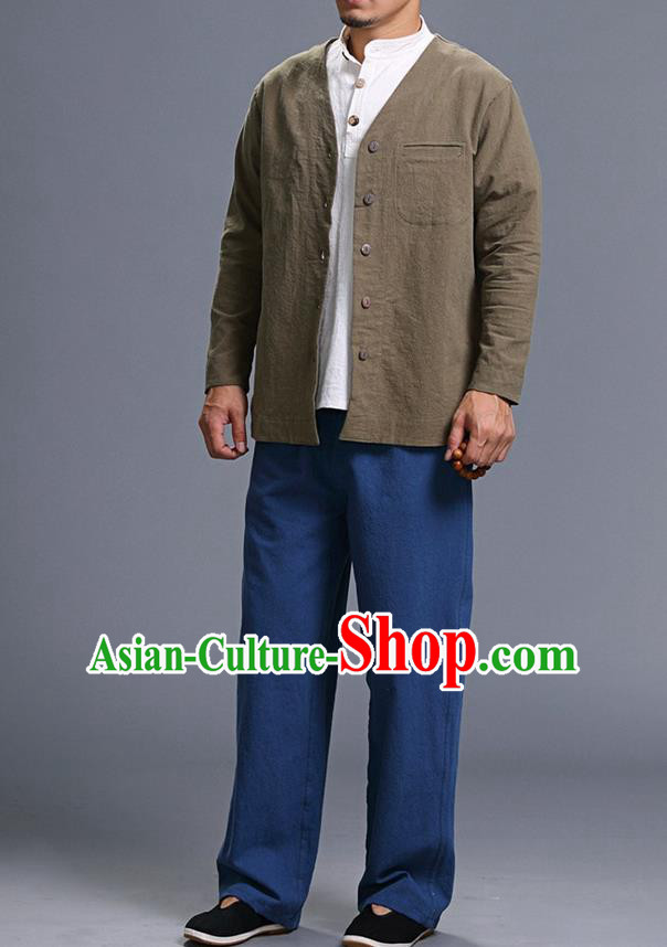Traditional Top Chinese National Tang Suits Linen Costume, Martial Arts Kung Fu Long Sleeve Brown Overcoat, Chinese Kung fu Upper Outer Garment Jacket, Chinese Taichi Thin Short Cardigan Wushu Clothing for Men