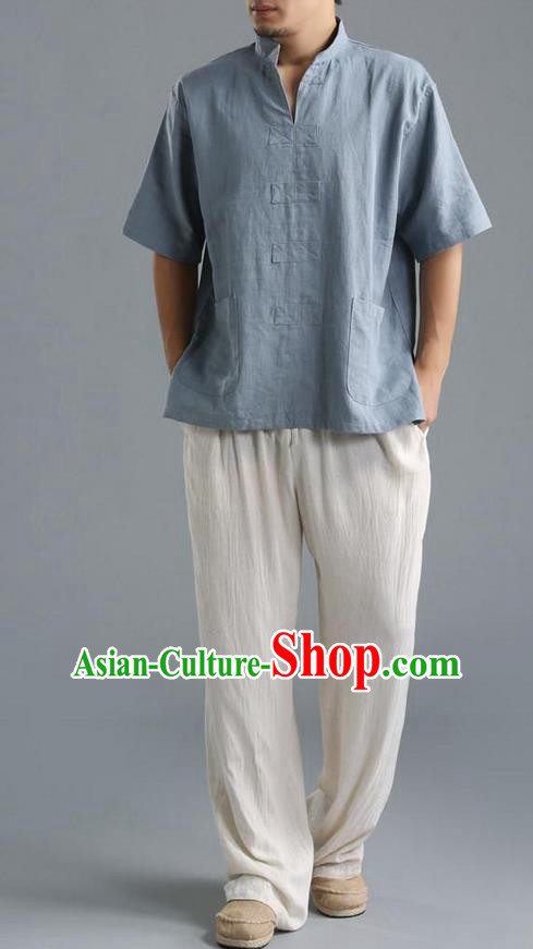 Traditional Top Chinese National Tang Suits Linen Costume, Martial Arts Kung Fu Short Sleeve Blue Shirt, Chinese Kung fu Upper Outer Garment Blouse, Chinese Taichi Thin Shirts Wushu Clothing for Men