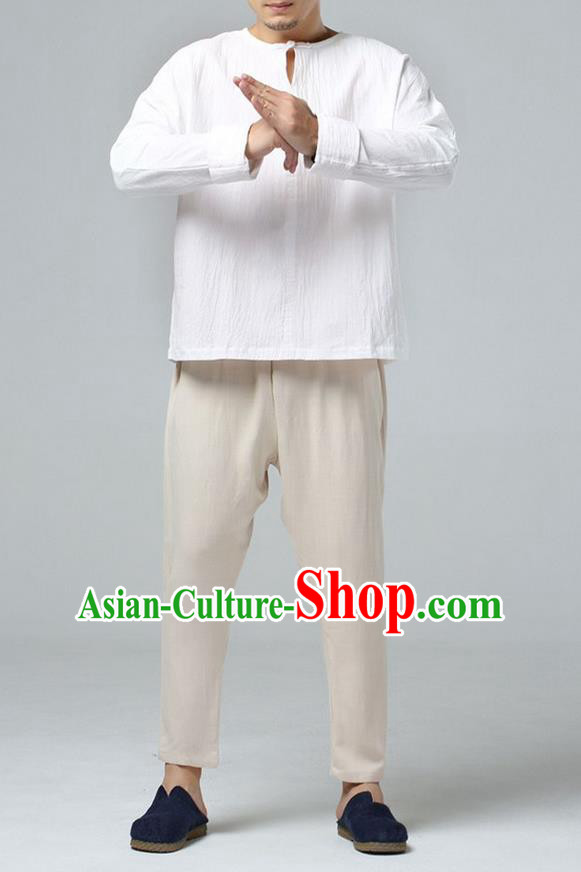Traditional Top Chinese National Tang Suits Linen Costume, Martial Arts Kung Fu Short Sleeve Wheat T-Shirt, Chinese Kung fu Upper Outer Garment Blouse, Chinese Taichi Thin Shirts Wushu Clothing for Men