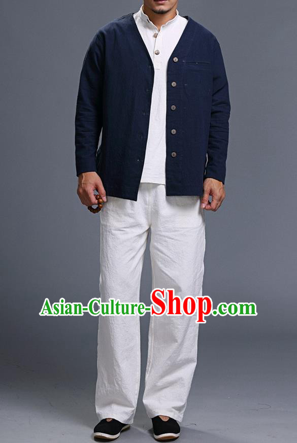 Traditional Top Chinese National Tang Suits Linen Costume, Martial Arts Kung Fu Long Sleeve Navy Overcoat, Chinese Kung fu Upper Outer Garment Jacket, Chinese Taichi Thin Short Cardigan Wushu Clothing for Men