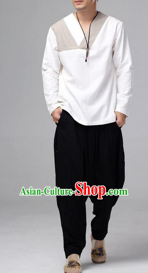 Traditional Top Chinese National Tang Suits Linen Costume, Martial Arts Kung Fu Long Sleeve White T-Shirt, Chinese Kung fu Upper Outer Garment Blouse, Chinese Taichi Shirts Wushu Clothing for Men