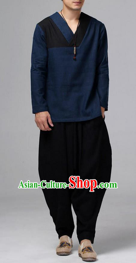 Traditional Top Chinese National Tang Suits Linen Costume, Martial Arts Kung Fu Long Sleeve Navy T-Shirt, Chinese Kung fu Upper Outer Garment Blouse, Chinese Taichi Shirts Wushu Clothing for Men