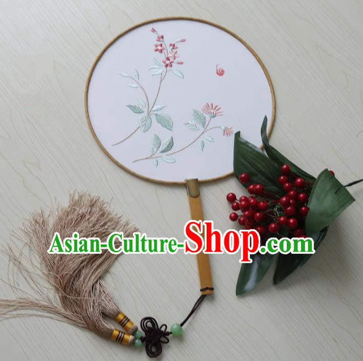 Traditional Ancient Chinese Palace Lady Embroidered Hibiscus Rosa-sinensis Dance Round Fans for Women