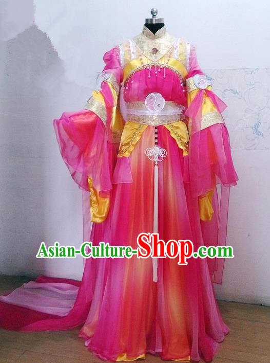 Traditional Ancient Chinese Imperial Consort Costume, Ancient Young Lady Elegant Hanfu Clothing Chinese Tang Dynasty Imperial Empress Cosplay Fairy Tailing Embroidered Dress for Women