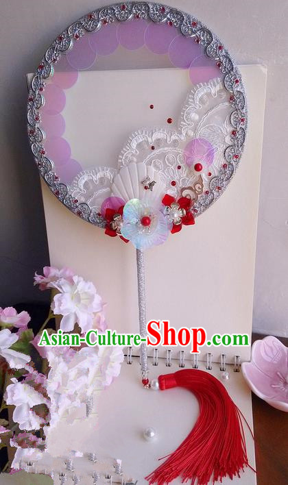 Traditional Chinese Handmade Ancient Hanfu Cosplay Round Coloured Glaze Flowers Fan Props for Women