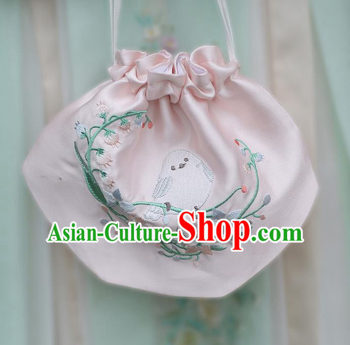 Traditional Ancient Chinese Embroidered Hanfu Handbags Embroidered Bird Pink Bag for Women