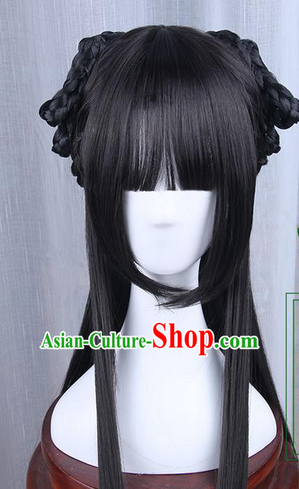 Traditional Handmade Ancient Chinese Han Dynasty Princess Wig, Ancient Chinese Palace Lady Wig for Women