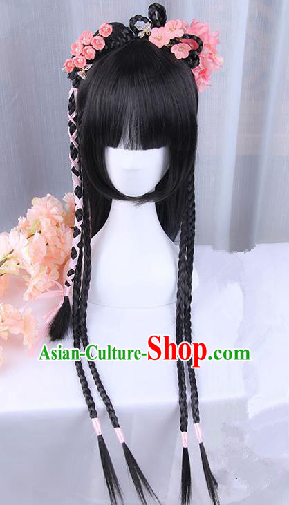Traditional Handmade Ancient Chinese Han Dynasty Imperial Princess Hair Decoration and Wig Complete Set, Ancient Chinese Palace Young Lady Headwear and Wig for Women