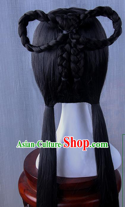 Traditional Handmade Ancient Chinese Han Dynasty Imperial Princess Fairy Hanfu Wig, Ancient Chinese Cosplay Fairy Palace Young Lady Hair Wig for Women