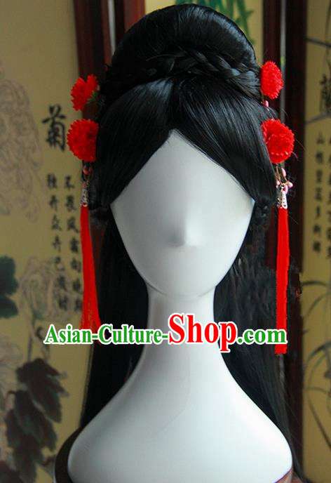 Traditional Handmade Ancient Chinese Han Dynasty Imperial Princess Red Tassels Hair Decoration and Wig Complete Set, Ancient Chinese Hanfu Cosplay Fairy Young Lady Headwear and Wig for Women