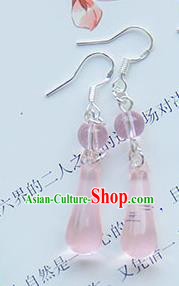 Traditional Handmade Chinese Ancient Princess Classical Hanfu Accessories Jewellery Pink Crystal Earrings Eardrop for Women