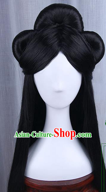Traditional Handmade Ancient Chinese Han Dynasty Imperial Princess Wig, Ancient Chinese Hanfu Cosplay Fairy Queen Young Lady Wig for Women