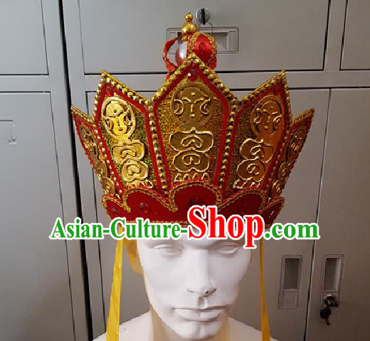 Traditional Ancient Chinese Classical Peking Opera Journey to the West Props, Xi Youji Tang Dynasty Mitral Five Buddha Crown Coronet Monk Hat for Men