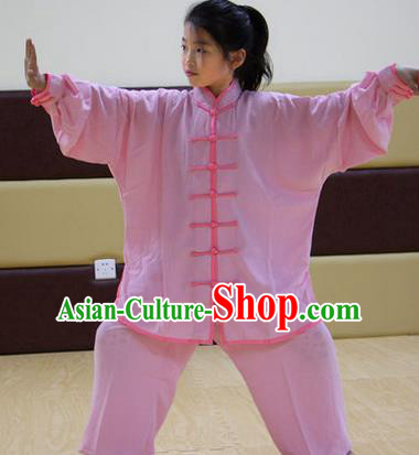 Traditional Chinese Top Silk Cotton Kung Fu Costume Martial Arts Kung Fu Training Children Plated Buttons Pink Uniform, Tang Suit Gongfu Shaolin Wushu Clothing, Tai Chi Taiji Teacher Suits Uniforms for Kids
