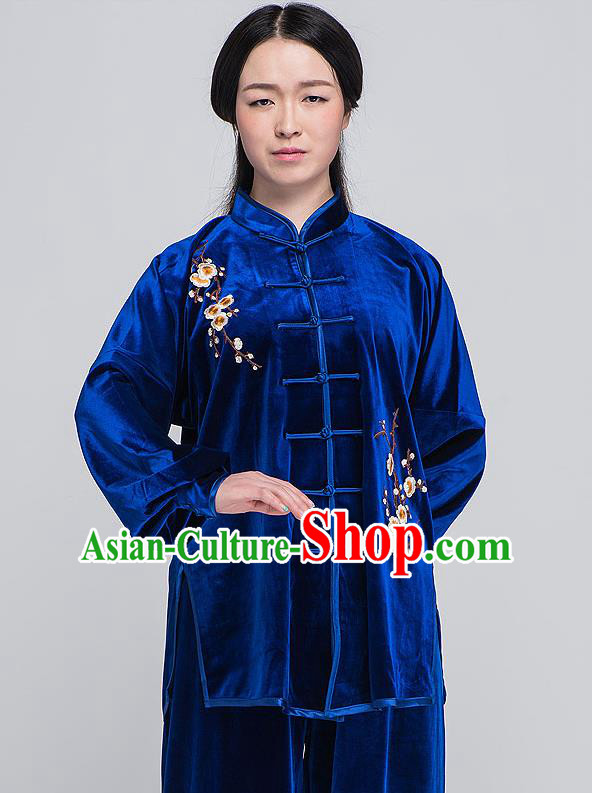 Traditional Chinese Top South Korea Velvet Kung Fu Costume Martial Arts Kung Fu Training Blue Embroidered Uniform, Tang Suit Gongfu Shaolin Wushu Clothing, Tai Chi Taiji Teacher Suits Uniforms for Women