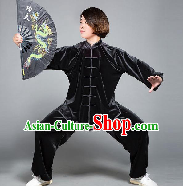 Traditional Chinese Top Gold Velvet Kung Fu Costume Martial Arts Kung Fu Training Plated Buttons Black Uniform, Tang Suit Gongfu Shaolin Wushu Clothing, Tai Chi Taiji Teacher Suits Uniforms for Women
