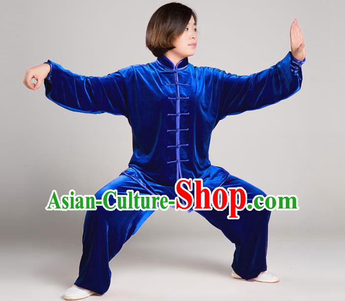 Traditional Chinese Top Gold Velvet Kung Fu Costume Martial Arts Kung Fu Training Plated Buttons Blue Uniform, Tang Suit Gongfu Shaolin Wushu Clothing, Tai Chi Taiji Teacher Suits Uniforms for Women