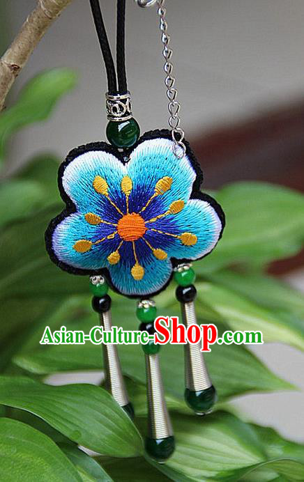 Traditional Chinese Miao Nationality Crafts Jewelry Accessory, Hmong Handmade Miao Silver Embroidery Blue Flowers Green Beads Tassel Pendant, Miao Ethnic Minority Necklace Accessories Pendant for Women