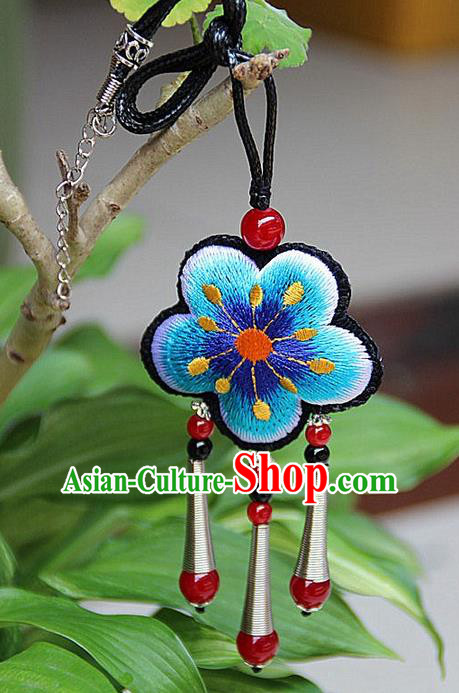 Traditional Chinese Miao Nationality Crafts Jewelry Accessory, Hmong Handmade Miao Silver Embroidery Blue Flowers Red Beads Tassel Pendant, Miao Ethnic Minority Necklace Accessories Pendant for Women