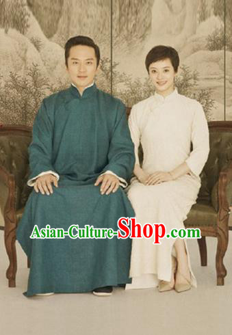 Traditional Ancient Chinese Republic of China Red Gown Crosstalk Robes Qing Dynasty Teacher Minguo Costumes for Men