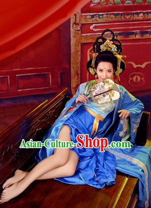 c132df163 Traditional Ancient Chinese Imperial Emperess Costume, Chinese Tang Dynasty Dance  Dress, Chinese Peri Imperial Princess Blue Hanfu Clothing for Women