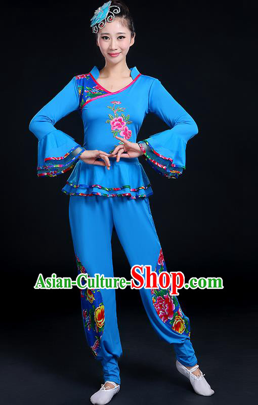 Traditional Chinese Yangge Fan Dancing Costume, Folk Dance Yangko Mandarin Sleeve Peony Painting Blouse and Pants Uniforms, Classic Dance Elegant Dress Drum Dance Red Clothing for Women