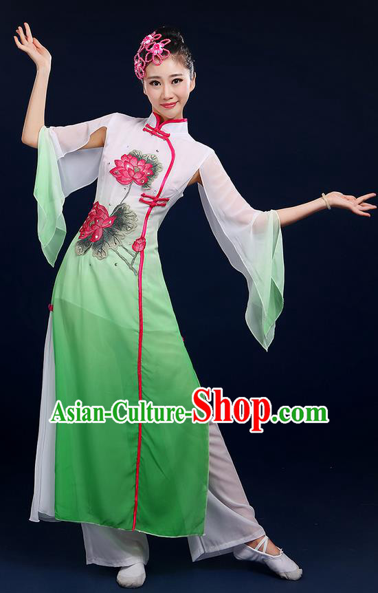 Traditional Chinese Yangge Fan Dancing Costume, Folk Dance Yangko Uniforms, Classic Umbrella Lotus Dance Elegant Dress Drum Dance Green Clothing for Women