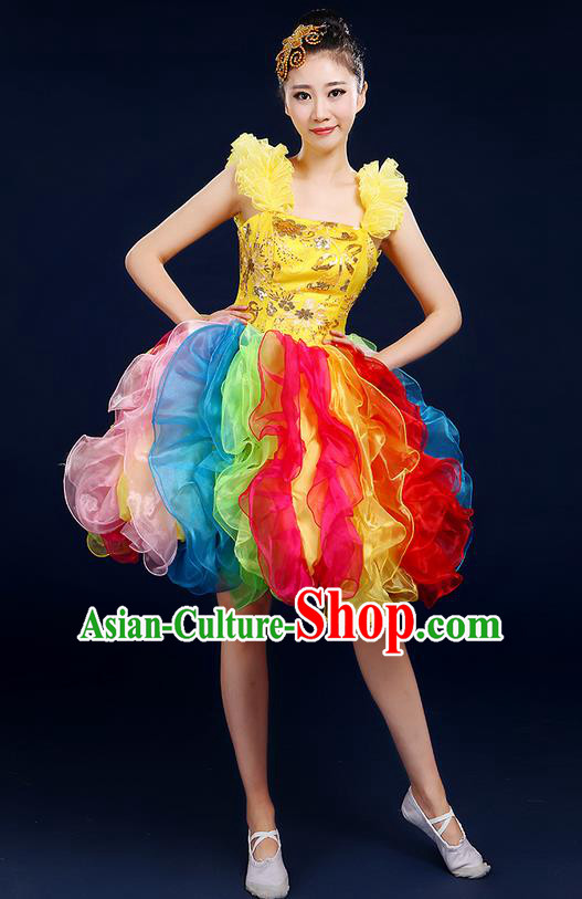 Traditional Chinese Modern Dancing Compere Costume, Women Opening Classic Chorus Singing Group Dance Flowers Bubble Uniforms, Modern Dance Classic Dance Short Dress for Women