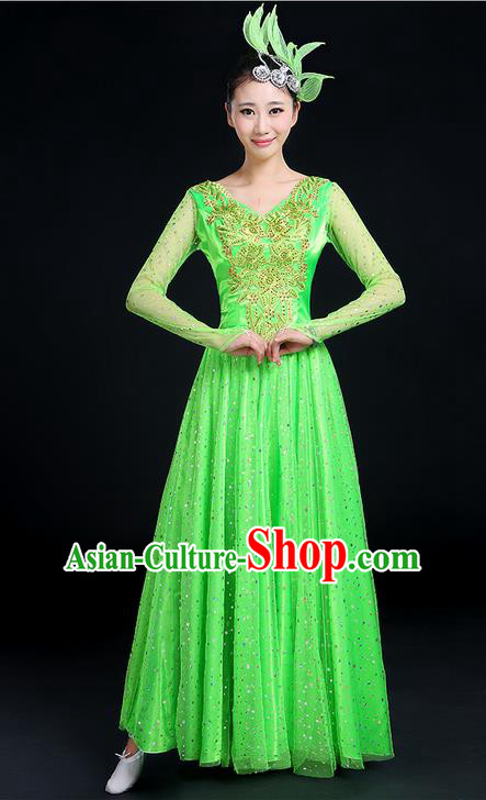 Traditional Chinese Modern Dancing Compere Costume, Women Opening Classic Dance Chorus Singing Group Uniforms, Modern Dance Classic Dance Big Swing Green Dress for Women