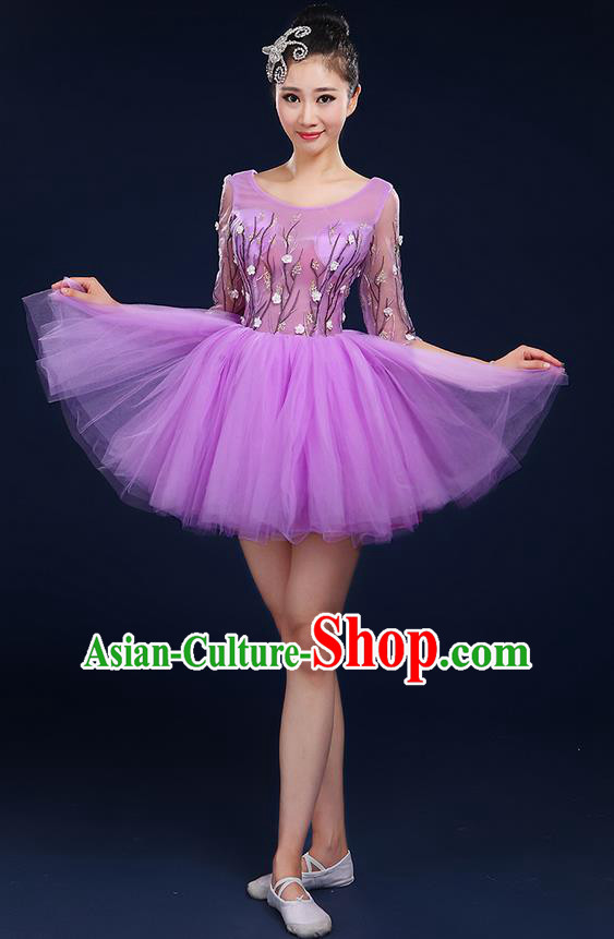 Traditional Chinese Modern Dancing Compere Costume, Women Opening Classic Dance Chorus Singing Group Bubble Uniforms, Modern Dance Classic Dance Big Swing Purple Short Dress for Women