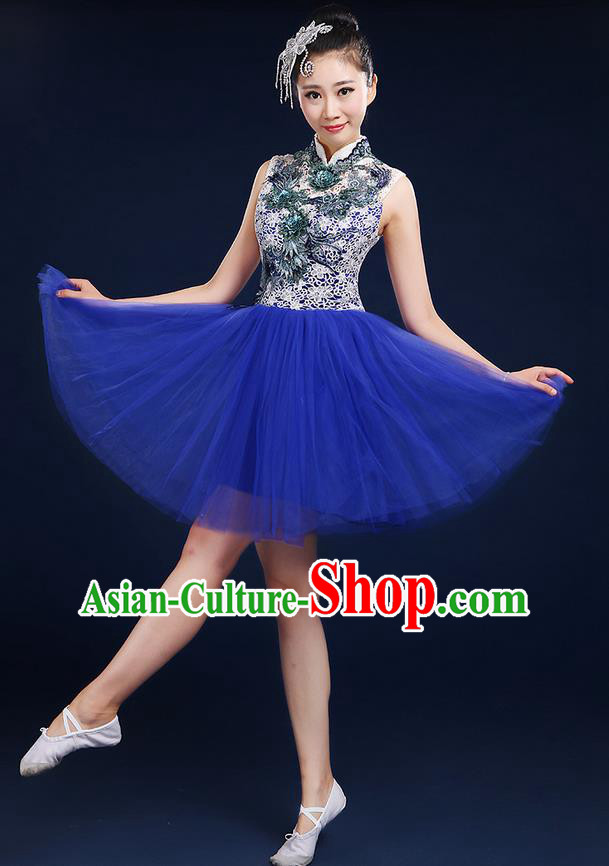 Traditional Chinese Modern Dancing Compere Costume, Women Opening Classic Dance Chorus Singing Group Bubble Uniforms, Modern Dance Classic Dance Big Swing Blue Short Dress for Women